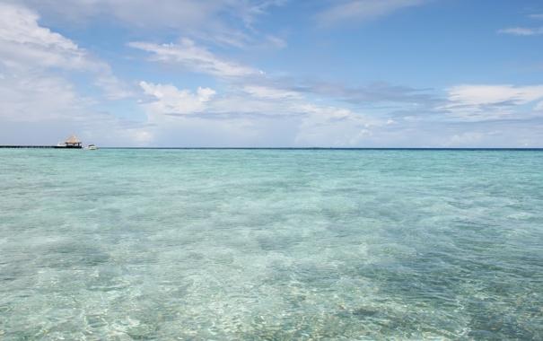 Фото обои остров, мальдивы, пляж, небо, океан