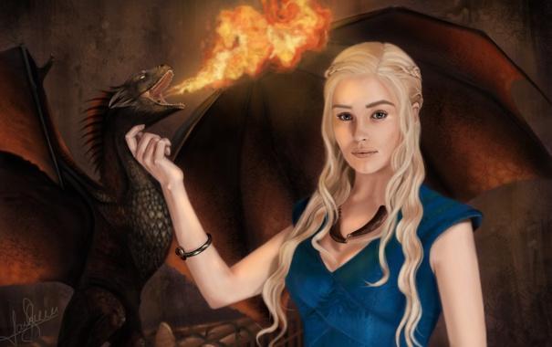Фото обои девушка, огонь, дракон, Песнь Льда и Огня, Daenerys Targaryen, Mother of Dragons, A Song Of ...