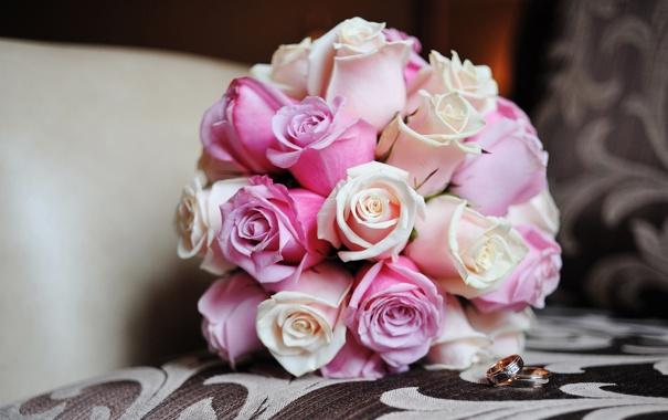 Фото обои цветы, розы, букет, кольца, розовые, свадебный