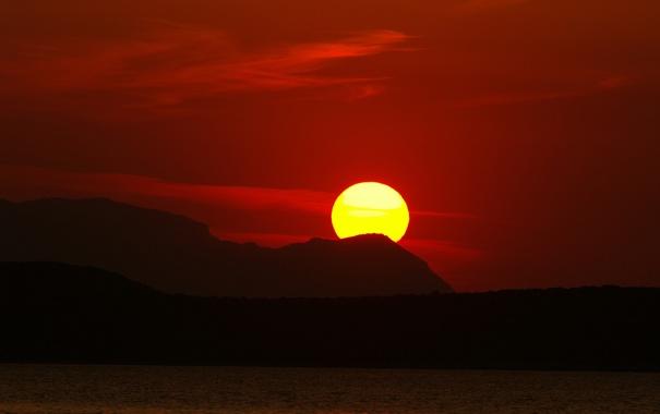 Фото обои закат, горы, небо, солнце, море