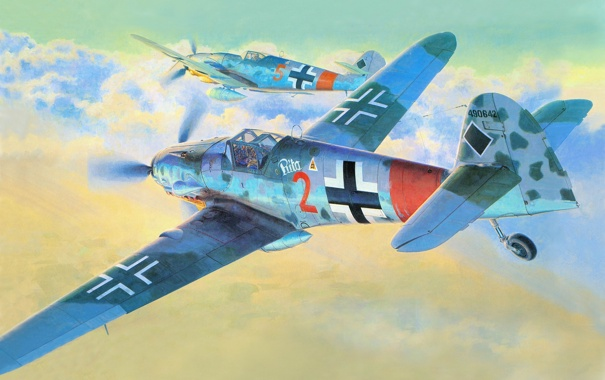 Фото обои war, art, painting, drawing, ww2, german aircraft, bf 109