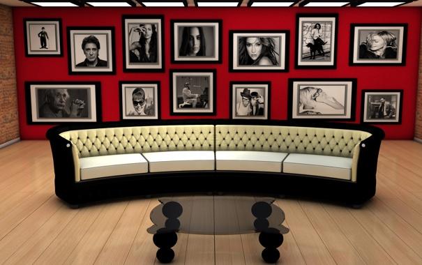 Фото обои sofa, living, arquitectura, sillon, cuadros, habitación