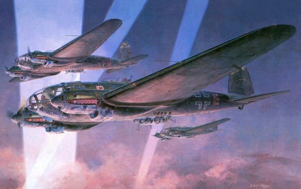 Фото обои небо, лучи, война, рисунок, бомбардировщики, самолёты, ночные