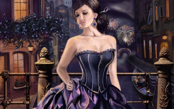 Фото обои девушка, ночь, город, река, платье, арт, канал