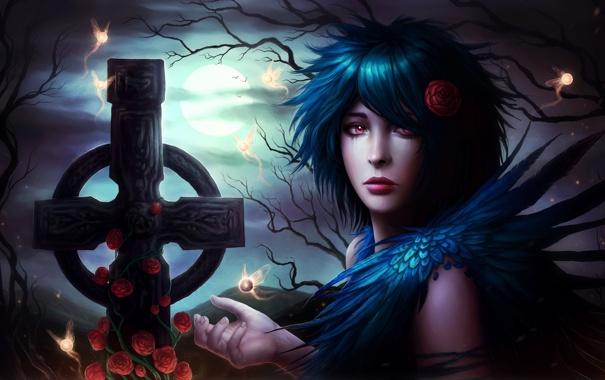 Фото обои девушка, деревья, ночь, готика, луна, розы, крест