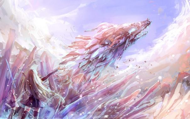 Фото обои лед, небо, оружие, девушки, дракон, меч, аниме