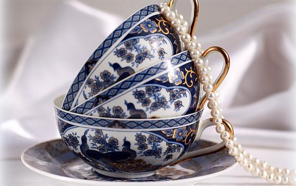 Фото обои настроение, голубое, утро, чашка, жемчуг, натюрморт, синее