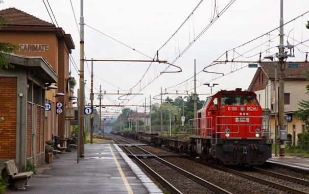 Фото обои поезд, станция, платформа