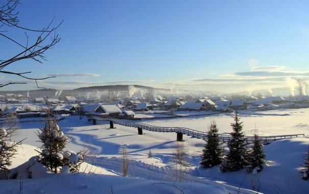 Фото обои зима, пейзаж, мост, река