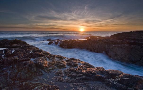 Фото обои песок, море, волны, вода, закат, природа, ручей