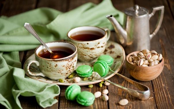 Фото обои чай, натюрморт, фисташки, макарон