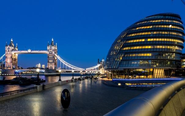 Фото обои свет, река, люди, Англия, Лондон, лодки, вечер