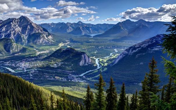 Фото обои лес, небо, облака, горы, река, долина, панорама