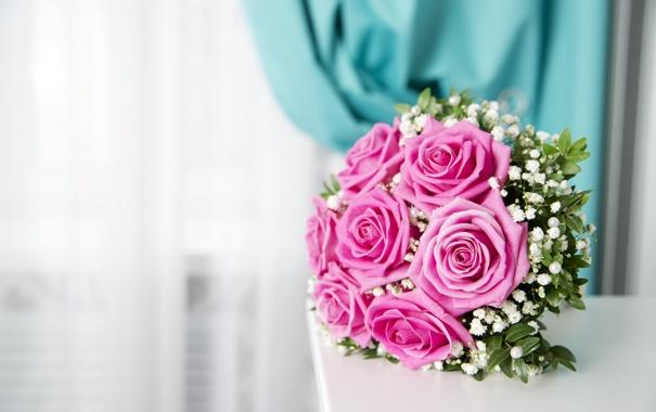 Фото обои цветы, розы, букет, розовые, rose, pink, flowers
