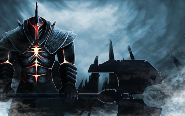Фото обои туман, оружие, фантастика, арт, шлем, броня, топор