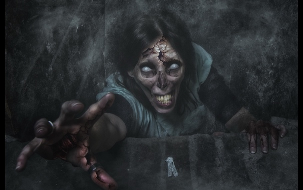Фото обои зомби, фон, фантастика