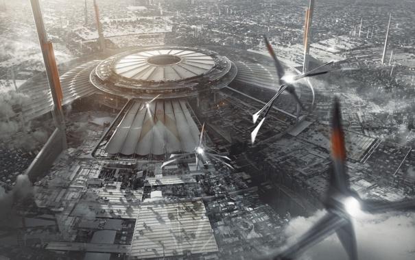 Фото обои трубы, город, самолет, будущее, дым, корабль, здания