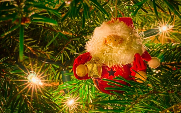 Фото обои иголки, ёлка, гирлянда, Дед Мороз, лампочки