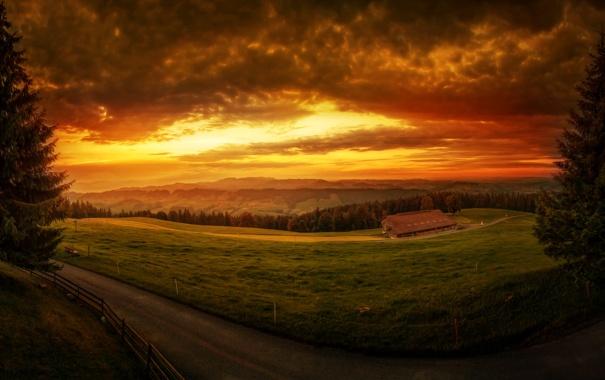 Фото обои дорога, небо, облака, закат, дом, поля, Швейцария