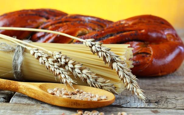 Фото обои стол, зерно, хлеб, злаки, спагетти