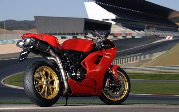 Фото обои красный, трасса, мотоцикл, red, Ducati, трибуны, Superbike
