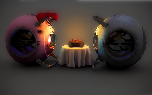 Фото обои роботы, портал, пирог