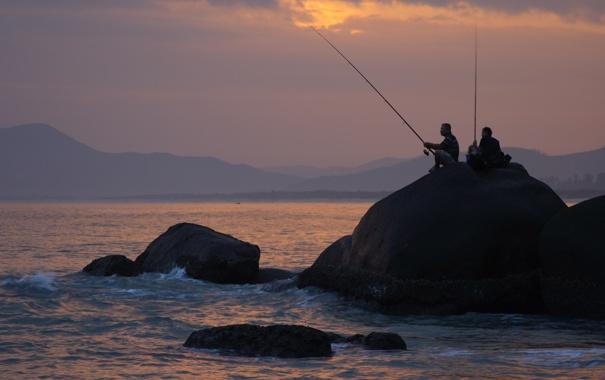 Фото обои море, пейзаж, закат, настроение, отдых, Китай, рыбаки