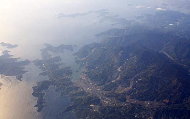 Фото обои море, горы, вид сверху
