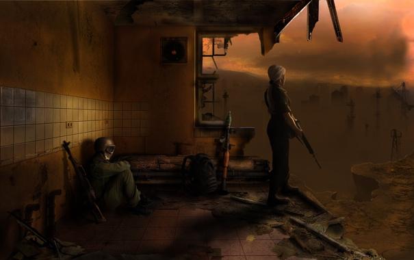 Фото обои девушка, город, мужик, солдат, stalker