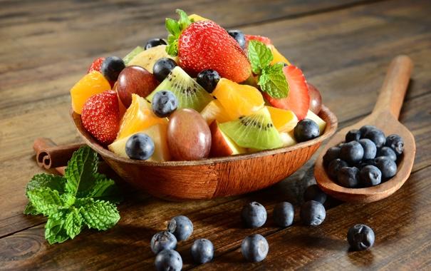 Фото обои ложка, десерт, berries, фруктовый салат, mint leaves, fruit salad, ягоды черники