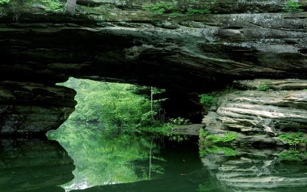 Фото обои зелень, мост, отражение, речка, каменный, природный