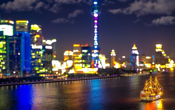 Фото обои облака, ночь, отражение, лодка, фары, Китай, Шанхай