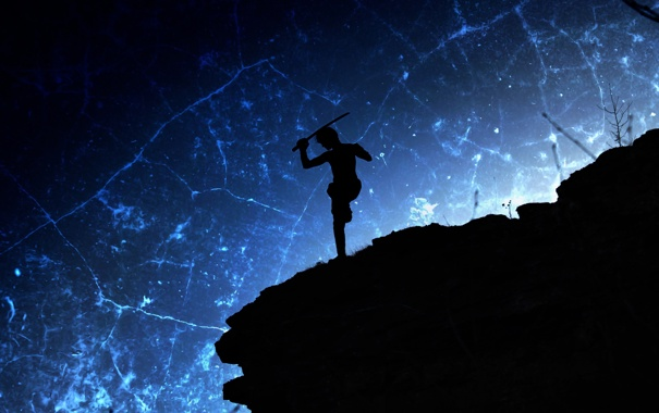 Фото обои небо, синий, черный, меч, склон, воин