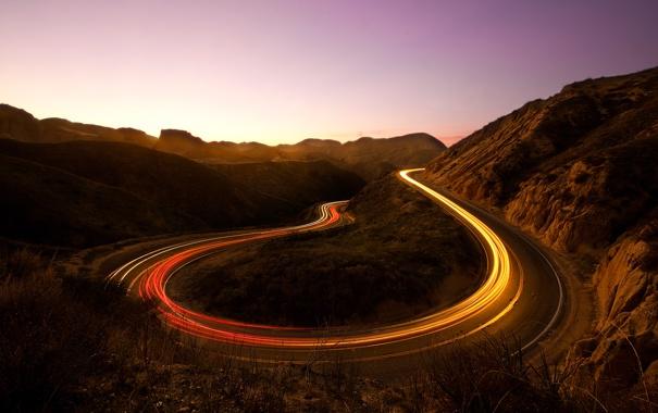 Фото обои дорога, небо, свет, горы, утро, выдержка