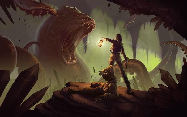 Фото обои девушка, оружие, фантастика, арт, пасть, фонарь, пещера