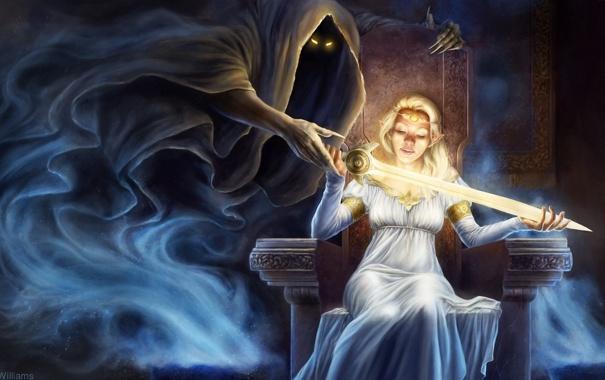 Фото обои глаза, девушка, магия, дух, меч, фэнтези, арт