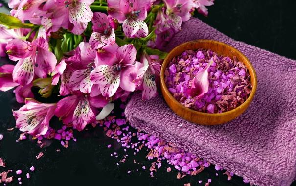 Фото обои спа, полотенце, purple, лепестки, цветы
