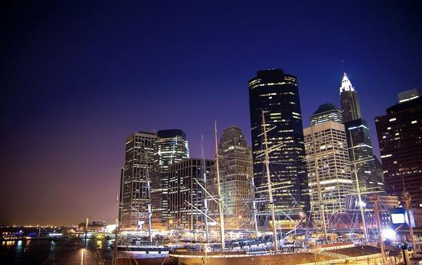 Фото обои ночь, лодки, нью-йорк, Night, New York City, usa, nyc