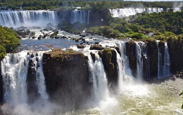 Фото обои озеро, река, Водопады