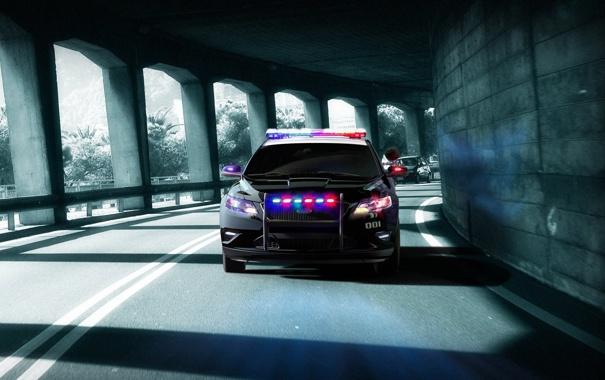 Фото обои полиция, погоня, туннель, need for speed, ford, hot pursuit