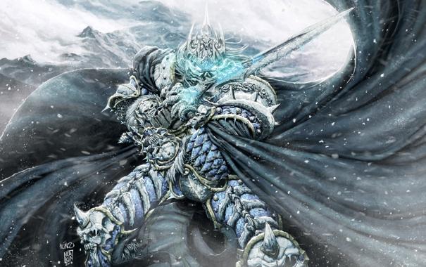 Фото обои холод, зима, снег, меч, шлем, плащ, wow