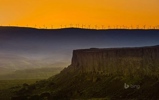 Фото обои горы, скалы, зарево, США, штат Вашингтон, ветряная мельница, Whiskey Dick Mountain