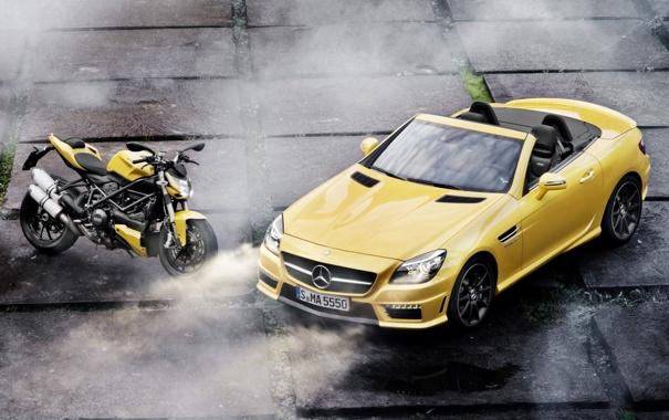 Фото обои машина, желтый, Mercedes-Benz, мотоцикл, плиты, суперкар, байк