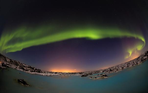 Фото обои небо, звезды, ночь, озеро, сияние