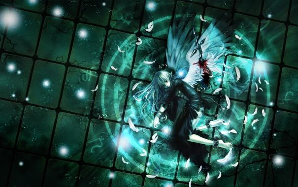 Фото обои девушка, кровь, крылья, ангел, меч, перья, арт