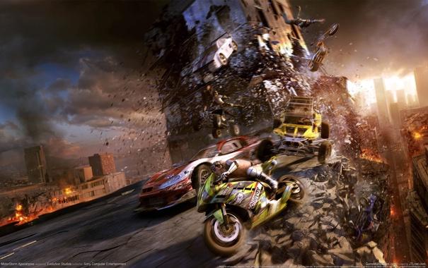 Фото обои город, апокалипсис, разрушение, гонщики, motorstorm