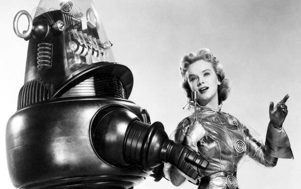 Фото обои девушка, ретро, робот, костюм, микрофон