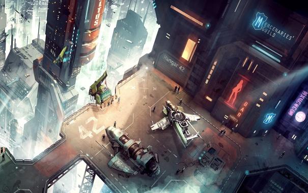 Фото обои город, транспорт, высота, корабли, мегаполис, вид сверху, Star Citizen