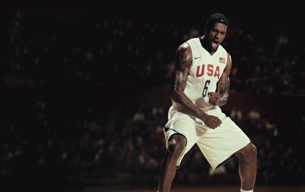 Фото обои Игра, Спорт, Баскетбол, USA, Nike, LeBron James, Сборная