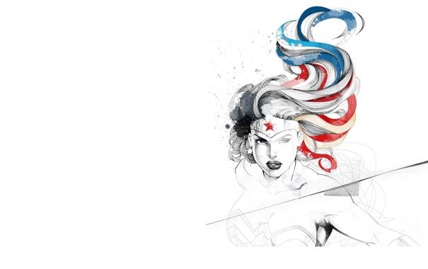 Фото обои девушка, комикс, персонаж, wonder woman, dc comics, зарисовка, супер героиня